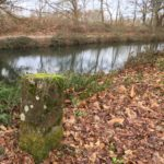 Milestone on the Basingstoke Canal, Wellesley Woodlands