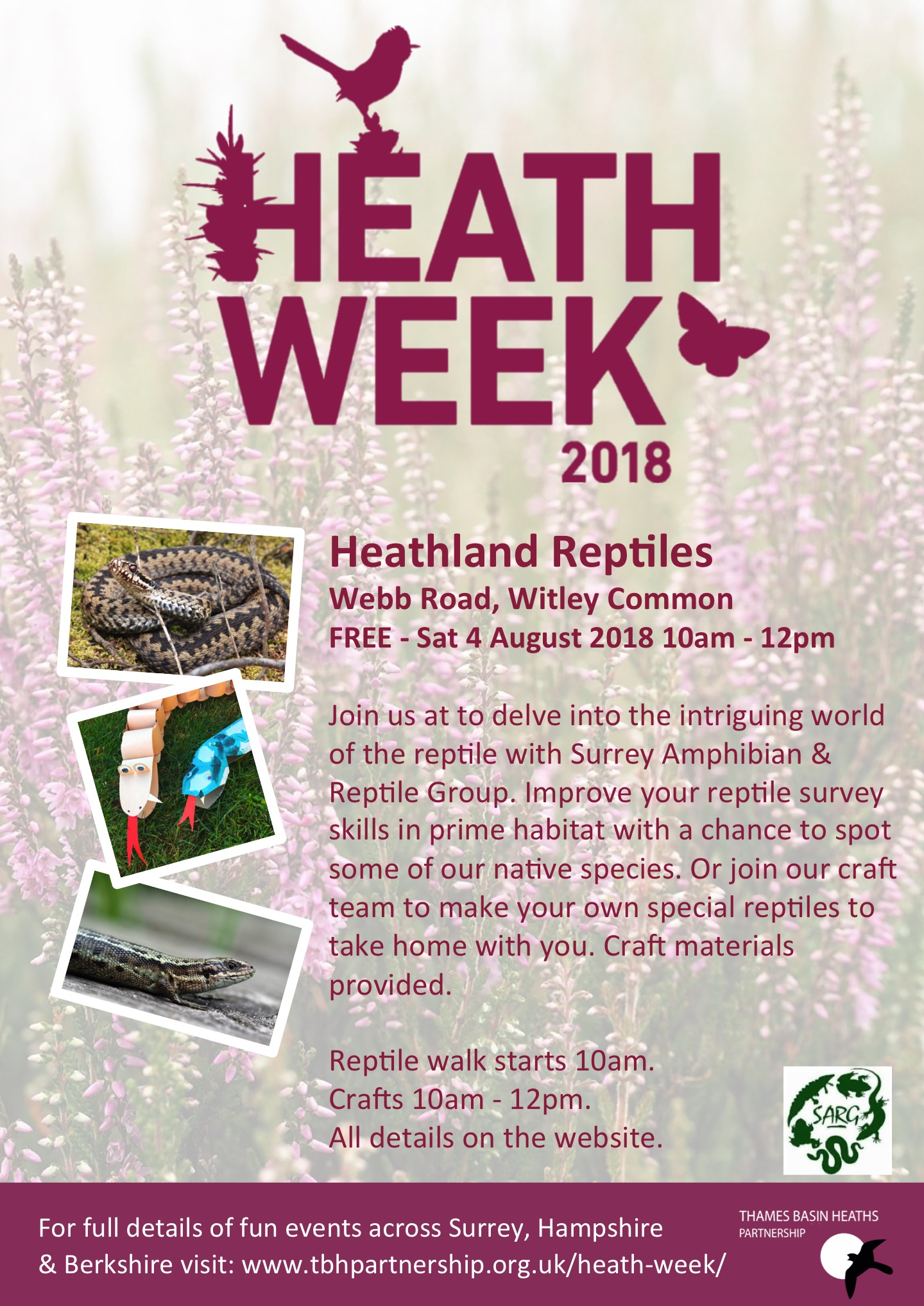 Heath Week poster for Reptiles at Witley