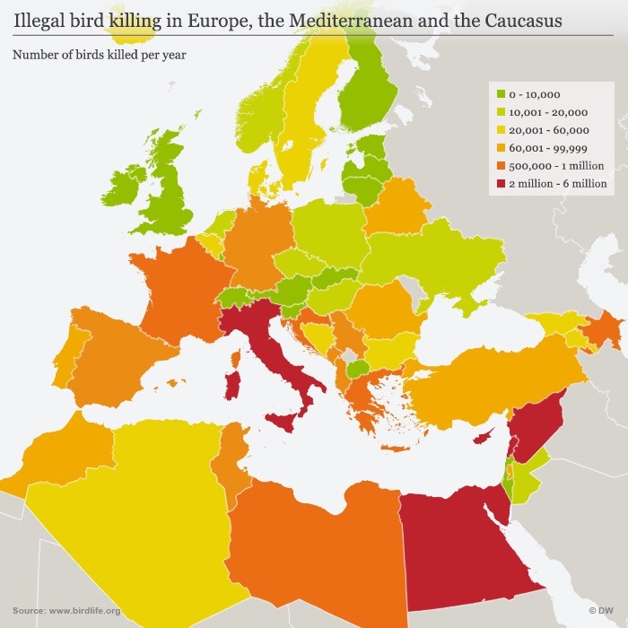 Map showing illegal killing