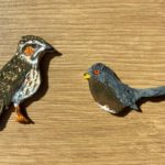 Photograph of cute little woodlark and Dartford warbler made from salt dough by Warden Nicky and would make great decorations!