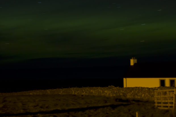 Photograph of the aurora borealis in the Outer Hebrides