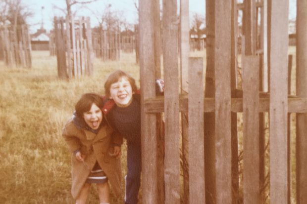 Photograph of a young Warden Nicky (left) and her brother in Bushy Park