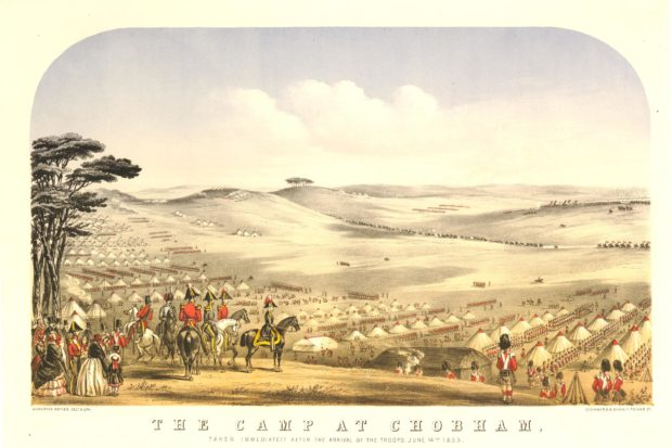 Old hand-coloured lithograph of the camp at Chobham Common