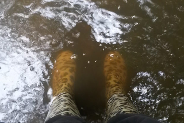 Someone with their wellies in water, illustrating our wet climate