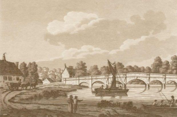 Old print of Chertsey Bridge.