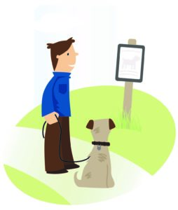Image of dog walker reading an information board