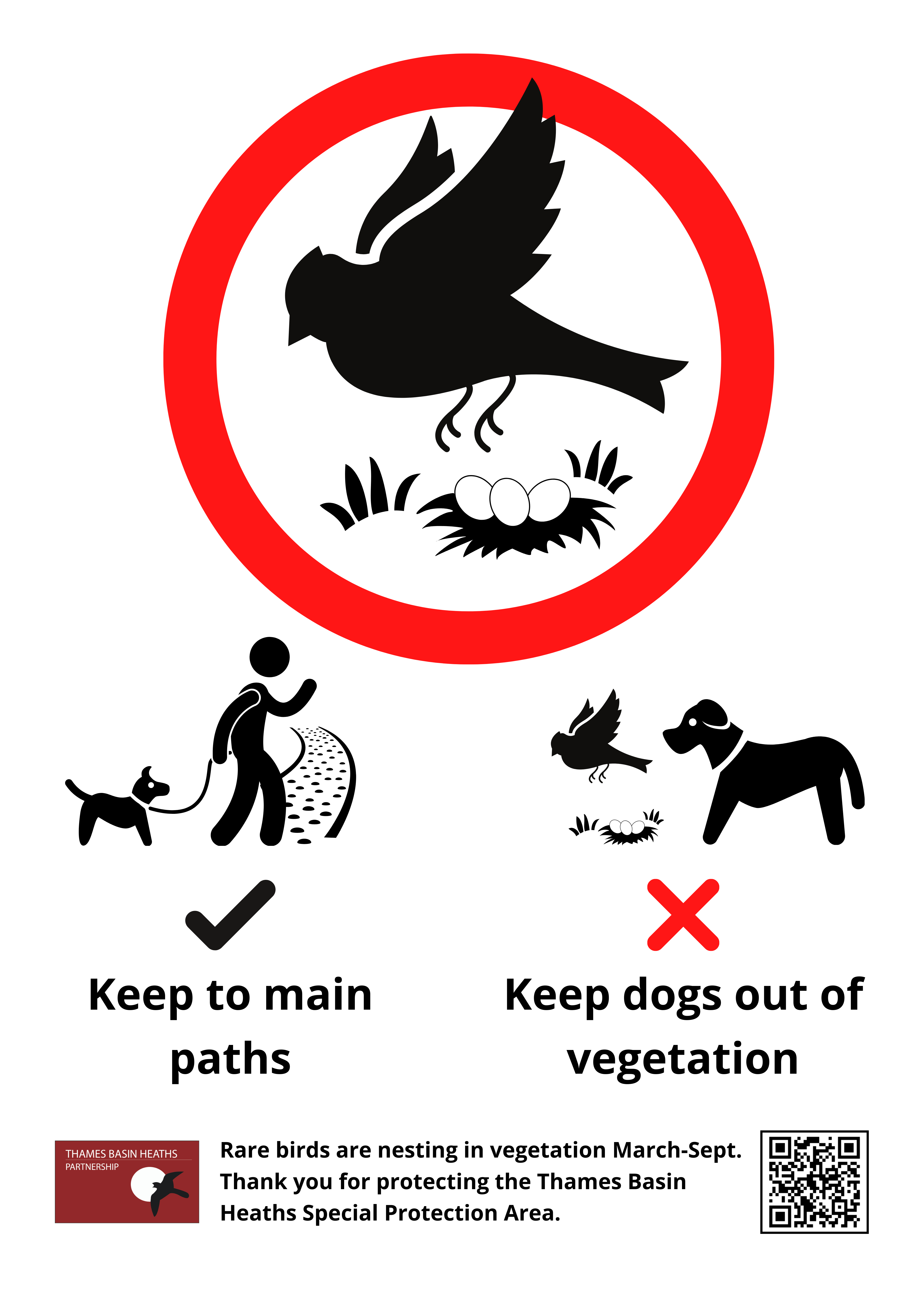 "Pictorial messages for ""Keep to main paths"" and ""Keep dogs out of vegetation"", rare birds are nesting in vegetation March-Sept."