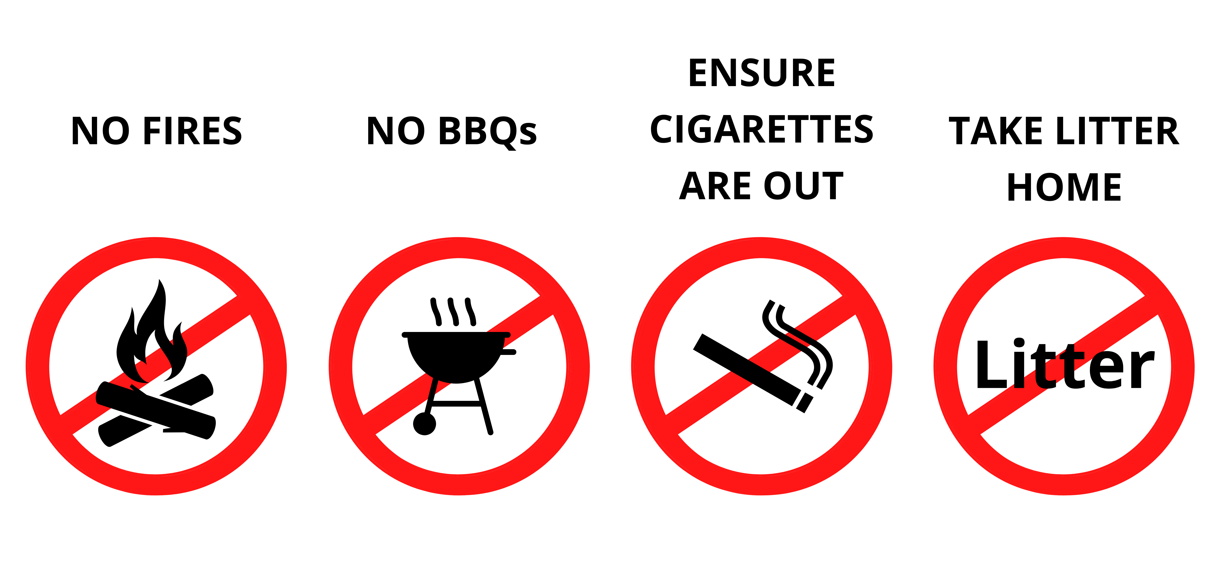 NO FIRES, NO BBQs, ENSURE CIGARETTES ARE OUT and TAKE LITTER HOME