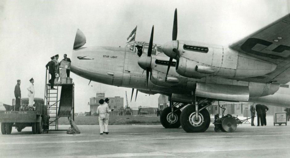 Old black and white photograph of a Lancaster Bomber