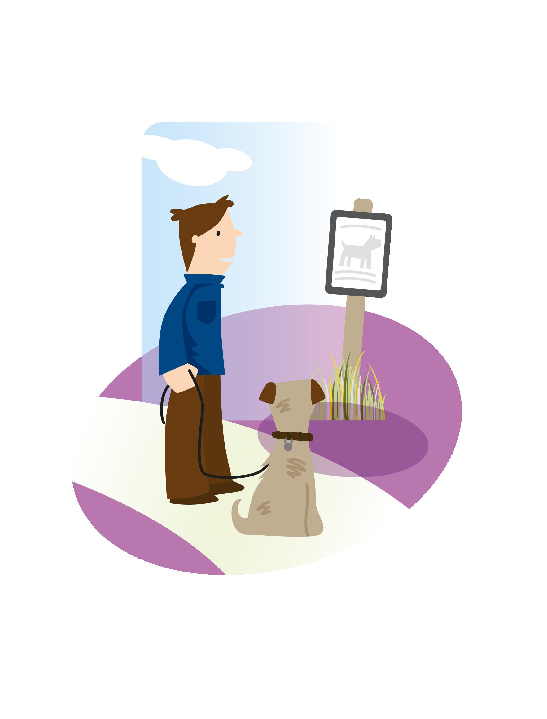 Image of dog walker reading an information board