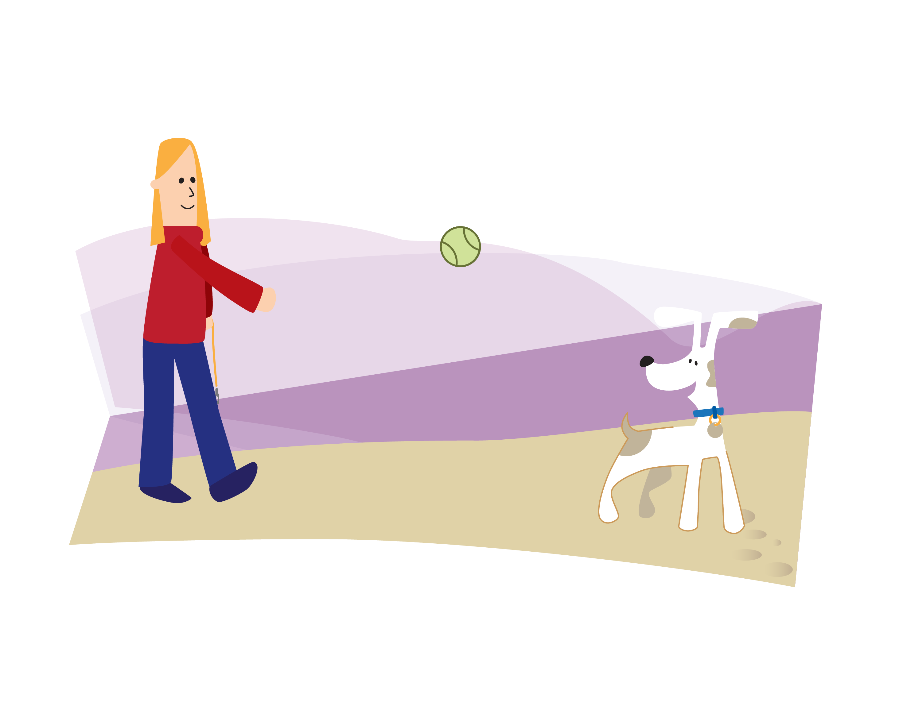 Image of a girl walking her dog on a path and throwing a ball down the path
