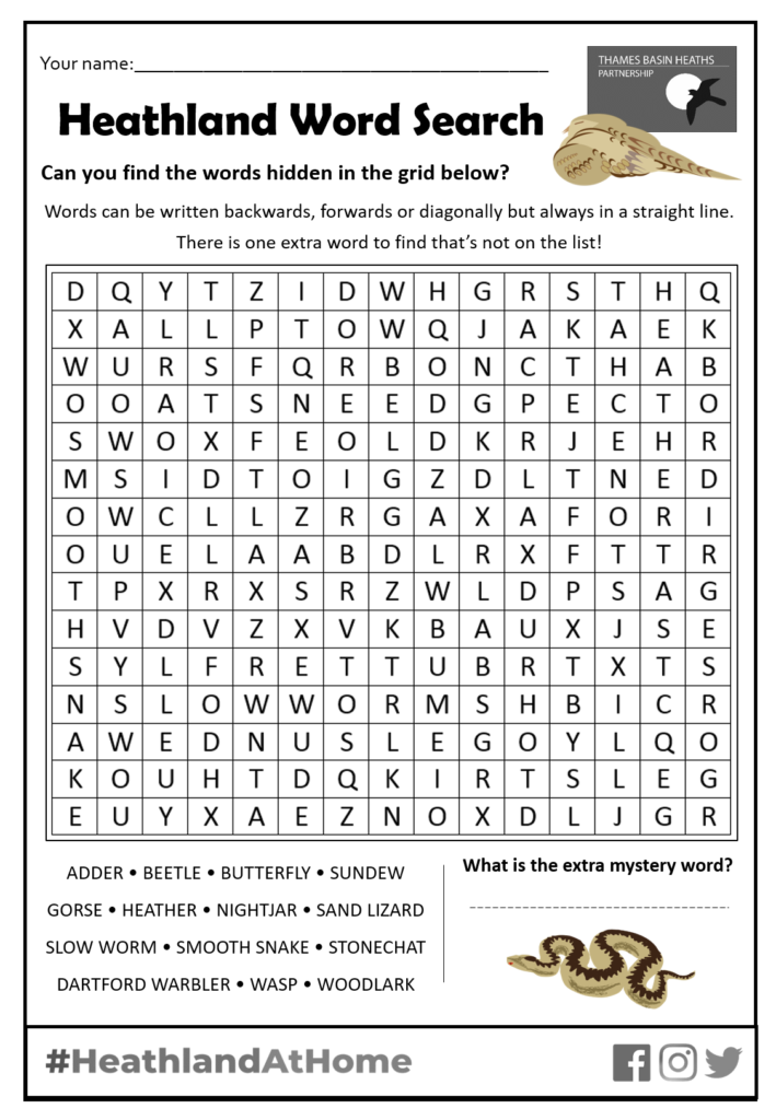 Click to download the heathland word search