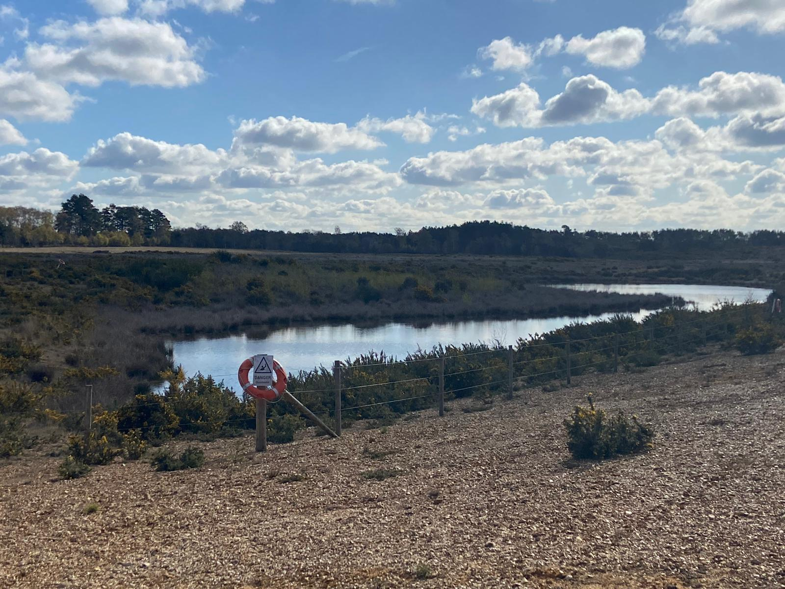 Photograph of Eversley Quarry showing stony habitat, gorse scrub and open water