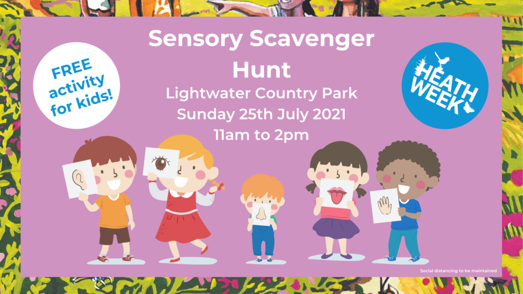 Heath Week event poster showing kids enjoying a sensory challenge