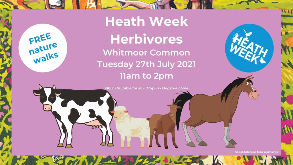 Heath Week event poster showing grazing animals