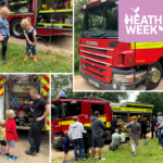 Montage of photographs including the children enjoying the fire engines