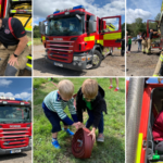 Montage of photographs of people having fun with the fire fighting equipment