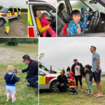 Montage of photographs of kids having fun with drones and fire vehicles!