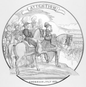 Old drawing of Queen Victoria reviewing troops