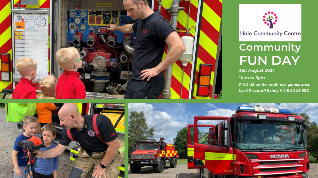Montage of photographs of kids enjoying looking at fire engines