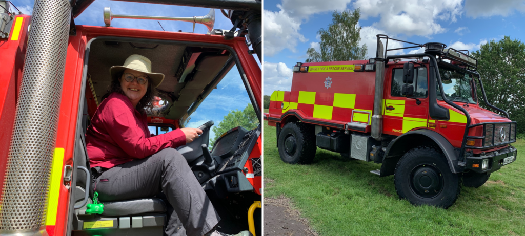 Photograph of Ruth enjoying a seat in the cab of the unimog (left) and the unimog (right)